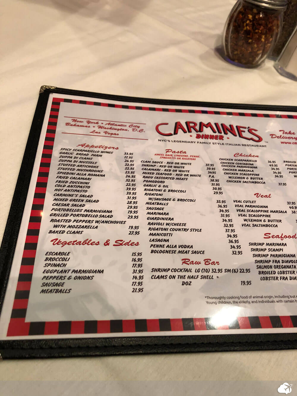 cardapio carmines restaurante las vegas