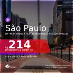 Passagens para <b>SÃO PAULO</b>, com datas para viajar a partir de Setembro/2020 e opções até Junho/2021! A partir de R$ 214, ida e volta, c/ taxas!