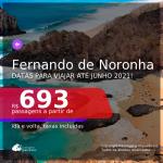 Passagens para <b>FERNANDO DE NORONHA</b>, com datas para viajar até JUNHO 2021! A partir de R$ 693, ida e volta, c/ taxas!
