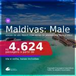 Passagens para as <b>MALDIVAS: Male</b>, com datas para viajar em 2021, de Janeiro até Março! A partir de R$ 4.624, ida e volta, c/ taxas!