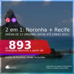 Passagens 2 em 1 – <b>FERNANDO DE NORONHA + RECIFE</b>, com datas para viajar até JUNHO 2021! A partir de R$ 893, todos os trechos, c/ taxas!