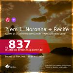 Passagens 2 em 1 – <b>FERNANDO DE NORONHA + RECIFE</b>, com datas para viajar até JULHO 2021! A partir de R$ 837, todos os trechos, c/ taxas!