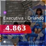 Passagens em <b>CLASSE EXECUTIVA</b> para <b>ORLANDO</b>, com datas para viajar em 2021! A partir de R$ 4.863, ida e volta, c/ taxas!