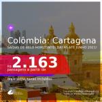 Passagens para a <b>COLÔMBIA: Cartagena</b>, com datas para viajar até JUNHO 2021! A partir de R$ 2.163, ida e volta, c/ taxas! Saídas de Belo Horizonte!