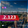 Passagens 2 em 1 – <b>LOS ANGELES + NOVA YORK</b>, com datas para viajar em 2021: de Janeiro até Julho! A partir de R$ 2.123, todos os trechos, c/ taxas! Opções de BAGAGEM INCLUÍDA!