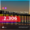 Passagens 2 em 1 – <b>NOVA YORK + SAN DIEGO</b>, com datas para viajar em 2021: de Janeiro até Março! A partir de R$ 2.306, todos os trechos, c/ taxas!