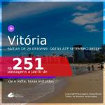 Passagens para <b>VITÓRIA</b>, com datas para viajar até SETEMBRO 2021! A partir de R$ 251, ida e volta, c/ taxas!