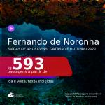 Passagens para <b>FERNANDO DE NORONHA</b>, com datas para viajar até OUTUBRO 2021! A partir de R$ 593, ida e volta, c/ taxas!