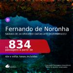 Passagens para <b>FERNANDO DE NORONHA</b>, com datas para viajar até DEZEMBRO/21! A partir de R$ 834, ida e volta, c/ taxas!