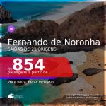 Passagens para <b>FERNANDO DE NORONHA</b>! A partir de R$ 854, ida e volta, c/ taxas!