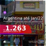 Passagens para a <b>ARGENTINA: Buenos Aires</b>, com datas para viajar até JANEIRO/2022! A partir de R$ 1.263, ida e volta, c/ taxas!
