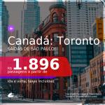 Passagens para o <b>CANADÁ: Toronto</b> a partir de R$ 1.896, ida e volta, c/ taxas!