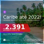 Seleção de Passagens para o <b>CARIBE! COLÔMBIA: Cartagena, San Andres ou Santa Marta, COSTA RICA: San Jose ou MÉXICO: Cancún</b>! A partir de R$ 2.391, ida e volta, c/ taxas!