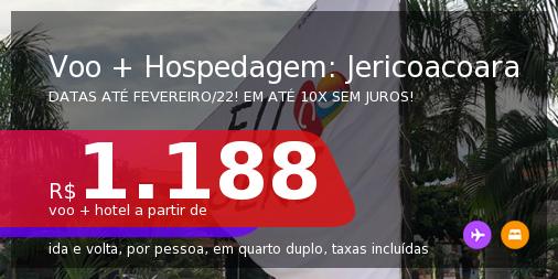 <b>PASSAGEM + HOSPEDAGEM</b> para <b>JERICOACOARA</b>! A partir de R$ 1.188, por pessoa, quarto duplo, c/ taxas! Datas até 2022! Em até 10x SEM JUROS!