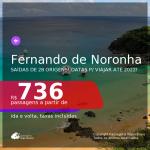 Passagens para <b>FERNANDO DE NORONHA</b>! A partir de R$ 736, ida e volta, c/ taxas! Datas até 2022!