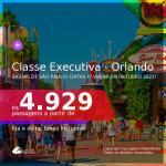 Passagens em <b>CLASSE EXECUTIVA</b> para <b>ORLANDO</b>, com datas para viajar em OUTUBRO 2021! A partir de R$ 4.929, ida e volta, c/ taxas!