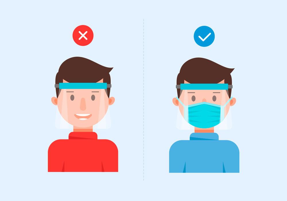 pode usar protetor facial com mascara no aviao
