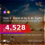 <b>PASSAGEM + HOTEL 4 ou 5 ESTRELAS com CAFÉ DA MANHÃ</b> em <b>Cairo, no EGITO</b>, inclusive, de hotéis com vista para as PIRÂMIDES ou para o RIO NILO! A partir de R$ 4.528, por pessoa, quarto duplo, c/ taxas! Datas até 2022! Em até 10x SEM JUROS!