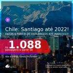 Passagens para o <b>CHILE: Santiago</b>, com datas a partir de OUTUBRO/21 até MARÇO/2022! A partir de R$ 1.088, ida e volta, c/ taxas!