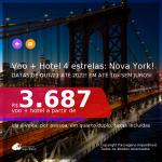 Promoção de <b>PASSAGEM + HOTEL 4 ESTRELAS</b> em <b>NOVA YORK</b>! A partir de R$ 3.687, por pessoa, quarto duplo, c/ taxas! Datas até 2022! Em até 10x SEM JUROS!