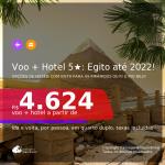<b>PASSAGEM + HOTEL 5 ESTRELAS com CAFÉ DA MANHÃ</b> em <b>Cairo, no EGITO</b>, inclusive, de hotéis com vista para as PIRÂMIDES ou para o RIO NILO! A partir de R$ 4.624, por pessoa, quarto duplo, c/ taxas! Datas até 2022! Em até 10x SEM JUROS!