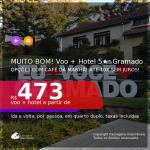 MUITO BOM!!! <b>PASSAGEM + HOTEL 5 ESTRELAS com CAFÉ DA MANHÃ</b> em <b>GRAMADO</b>! A partir de R$ 473, por pessoa, quarto duplo, c/ taxas! Datas até 2022! Em até 10x SEM JUROS!