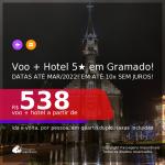 Promoção de <b>PASSAGEM + HOTEL 5 ESTRELAS com CAFÉ DA MANHÃ</b> em <b>GRAMADO</b>! A partir de R$ 538, por pessoa, quarto duplo, c/ taxas! Datas até Março/2022! Em até 10x sem juros!