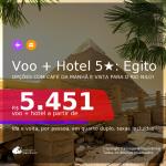 <b>PASSAGEM + HOTEL 5 ESTRELAS com CAFÉ DA MANHÃ e vista para o RIO NILO</b> em <b>Cairo, no EGITO</b>! A partir de R$ 5.451, por pessoa, quarto duplo, c/ taxas! Em até 10x SEM JUROS!