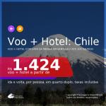 <b>PASSAGEM + HOTEL com CAFÉ DA MANHÃ</b> em <b>SANTIAGO, no Chile</b>! A partir de R$ 1.424, por pessoa, quarto duplo, c/ taxas! Datas até 2022! Em até 10x SEM JUROS!