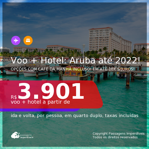 <b>PASSAGEM + HOTEL</b> em <b>ARUBA</b>! A partir de R$ 3.901, por pessoa, quarto duplo, c/ taxas! Datas até 2022! Opções com CAFÉ DA MANHÃ incluso! Em até 10x SEM JUROS!