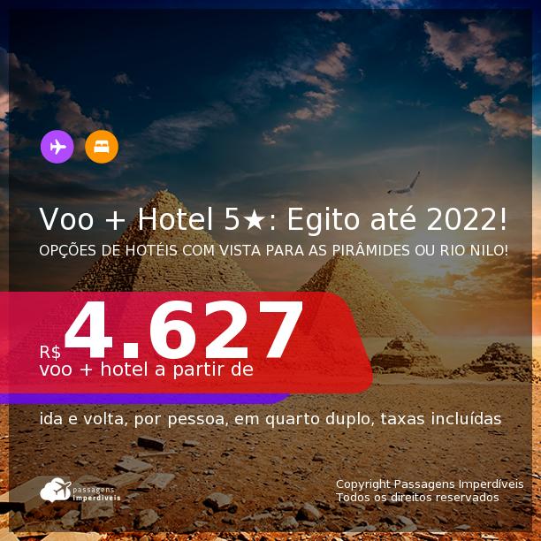 <b>PASSAGEM + HOTEL 5 ESTRELAS com CAFÉ DA MANHÃ</b> em <b>Cairo, no EGITO</b>, inclusive, de hotéis com vista para as PIRÂMIDES ou para o RIO NILO! A partir de R$ 4.627, por pessoa, quarto duplo, c/ taxas! Datas até 2022! Em até 10x SEM JUROS!