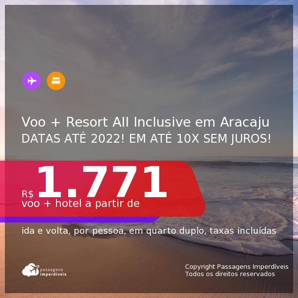 <b>PASSAGEM + RESORT ALL INCLUSIVE</b> em <b>ARACAJU</b>: Makai Resort All Inclusive & Convention! A partir de R$ 1.771, por pessoa, quarto duplo, c/ taxas! Datas até 2022! Em até 10x SEM JUROS!