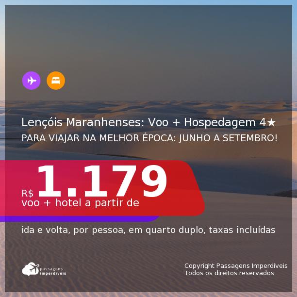 Viaje para os Lençóis Maranhenses na melhor época! <b>PASSAGEM + HOSPEDAGEM 4 ESTRELAS</b> em <b>BARREIRINHAS/MA</b>! A partir de R$ 1.179, por pessoa, quarto duplo, c/ taxas! Opções com CAFÉ DA MANHÃ incluso! Em até 10x SEM JUROS!