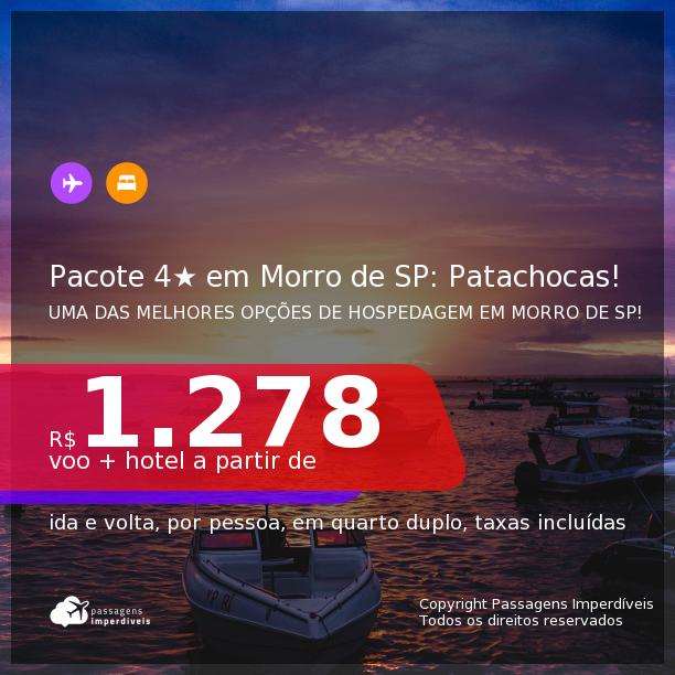 <b>PASSAGEM + HOSPEDAGEM 4 ESTRELAS</b> em UM DOS MELHORES HOTEIS de <b>MORRO DE SÃO PAULO</b>! A partir de R$ 1.278, por pessoa, quarto duplo, c/ taxas! Datas até 2022! Opções com CAFÉ DA MANHÃ incluso! Em até 10x SEM JUROS!