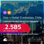 7 dias no Chile! <strong>PASSAGEM + HOTEL 5 ESTRELAS</strong> em <strong>SANTIAGO</strong>, com datas para viajar a partir de Novembro/21 até 2022! A partir de R$ 2.585, por pessoa, quarto duplo, c/ taxas! Opções com CAFÉ DA MANHÃ incluso! Em até 10x SEM JUROS!