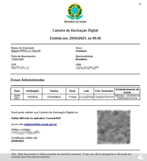 exemplo de certificado de vacinacao covid 19