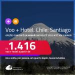 <strong>PASSAGEM + HOTEL</strong> com <strong>CAFÉ DA MANHÃ</strong> em <strong>SANTIAGO</strong>! A partir de R$ 1.416, por pessoa, quarto duplo, c/ taxas! Datas até 2022! Em até 10x SEM JUROS!