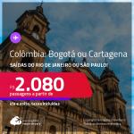 Seleção de Passagens para a <strong>COLÔMBIA: Bogotá ou Cartagena</strong>! A partir de R$ 2.080, ida e volta, c/ taxas! Datas até 2022!