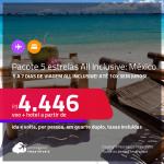 5 a 7 dias de viagem no <strong>MÉXICO</strong>!!! <strong>PASSAGEM + HOTEL 5 ESTRELAS ALL INCLUSIVE</strong> em <strong>CANCÚN, PLAYA DEL CARMEN ou TULUM</strong>! A partir de R$ 4.446, por pessoa, quarto duplo, c/ taxas! Datas até 2022! Em até 10x SEM JUROS!