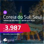 Passagens para a <strong>COREIA DO SUL: Seul</strong>! A partir de R$ 3.987, ida e volta, c/ taxas! Datas para viajar até Junho/22!