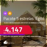 <strong>PASSAGEM + HOTEL 5 ESTRELAS</strong> com <strong>CAFÉ DA MANHÃ</strong> em <strong>CAIRO, </strong>no Egito! A partir de R$ 4.147, por pessoa, quarto duplo, c/ taxas! Opções com hospedagem com vista para as Pirâmides ou Rio Nilo! Datas até 2022! Em até 10x SEM JUROS!