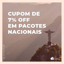 Cupom exclusivo: ganhe 7% de desconto em pacotes de voo mais hotel nacionais