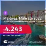 Destino aberto para brasileiros! Passagens para as <strong>ILHAS MALDIVAS: Male</strong>! A partir de R$ 4.243, ida e volta, c/ taxas! Datas até 2022!