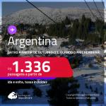 Passagens para a <strong>ARGENTINA, </strong>com datas para viajar a partir de Outubro/21, quando o país reabrirá! A partir de R$ 1.336, ida e volta, c/ taxas!