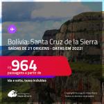 Passagens para a <strong>BOLÍVIA: Santa Cruz de la Sierra</strong>! A partir de R$ 964, ida e volta, c/ taxas! Datas em 2022!