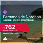 Passagens para <strong>FERNANDO DE NORONHA</strong>! A partir de R$ 762, ida e volta, c/ taxas! Datas até 2022!