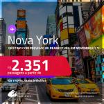 Destino com previsão de reabertura em Novembro/21! Passagens para <strong>NOVA YORK </strong>a partir de R$ 2.351, ida e volta, c/ taxas!