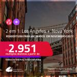 Reabertura para vacinados em Novembro/2021! Passagens 2 em 1 – <strong>LOS ANGELES + NOVA YORK na mesma viagem</strong>! A partir de R$ 2.951, todos os trechos, c/ taxas!