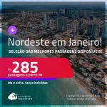 <strong>Nordeste nas Férias de Janeiro!</strong> Passagens para <strong>ARACAJU, FORTALEZA, ILHÉUS, MACEIÓ, NATAL, PORTO SEGURO OU RECIFE</strong>! A partir de R$ 285, ida e volta, c/ taxas! Opções para <strong>JERICOACOARA</strong> e <strong>NORONHA</strong>, a partir de R$ 1.084,  ida e volta!