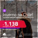 Destino aberto para brasileiros! <strong>Inverno no Chile!</strong> Passagens para <strong>Santiago</strong>, com datas para viajar de <strong>Junho até Setembro/2022</strong>! A partir de R$ 1.138, ida e volta, c/ taxas!